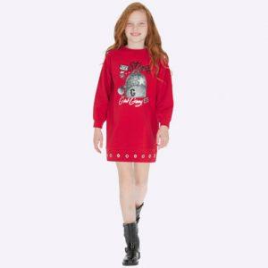 Детска спортна рокля в червено с принт от Колекция Есен- Зима 2019/ 2020 на MAYORAL