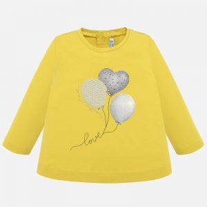 Бебешка блуза за момиче в жълто с ефектен сребрист принт с балони и сърце от Колекция Есен- Зима 2019/ 2020 на MAYORAL.