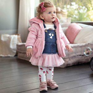 Бебешки дънков сукман с розов тюл на сребристи точки от Колекция Есен- Зима 2019/ 2020 на MAYORAL