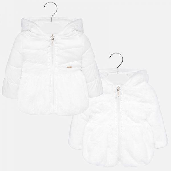 Бебешко двулицево зимно яке за момиче в бяло с пух от Колекция Есен -Зима 2019/ 2020 на MAYORAL