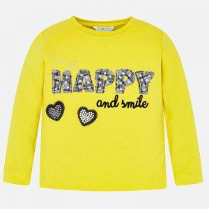 Детска блуза за момиче с апликация с надпис и сърца в жълто от Колекция Есен- Зима 2019/ 2020 на MAYORAL