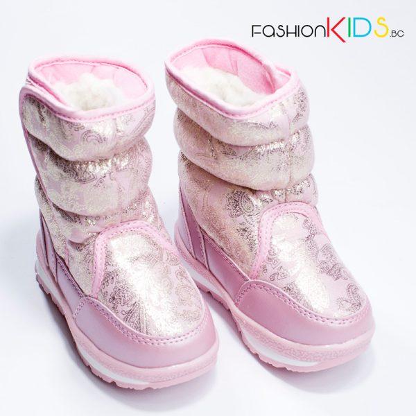 Детски апрески за момиче в розово с топъл каракул от водоустойчива материя