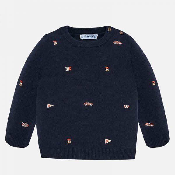 Бебешки памучен пуловер за момче в тъмносиньо с бродерии от Колекция Есен- Зима 2019/ 2020 на MAYORAL