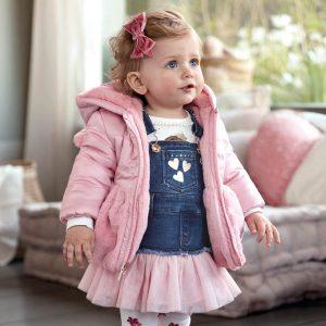 Бебешко двулицево зимно яке в розово с пух от Колекция Есен -Зима 2019/ 2020 на MAYORAL