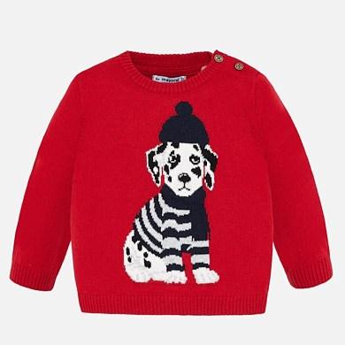 Универсален бебешки пуловер в червено с куче от Колекция Есен/ Зима 2019/2020 на MAYORAL.