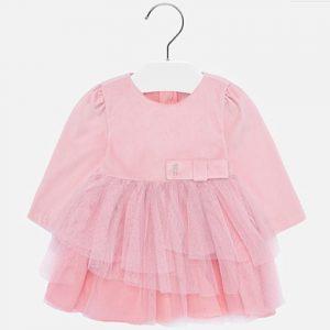 Бебешка официална рокля в розово с блестящ тюл и дълъг ръкав от Колекция Есен- Зима 2019/ 2020 на MAYORAL