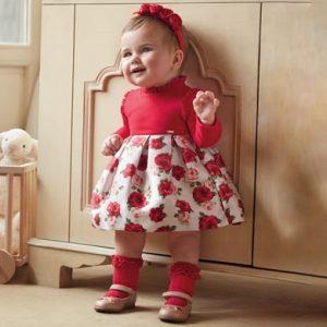Официална бебешка рокля в червено и принт с рози от Колекция Есен- Зима 2019/2020 на MAYORAL