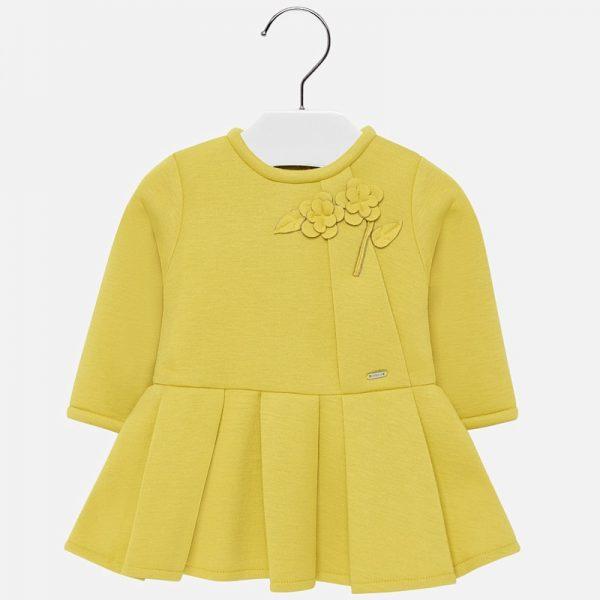 Официална бебешка рокля в жълто с дълъг ръкав от Колекция Есен- Зима 2019/ 2020 на MAYORAL