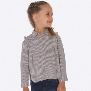 Детска риза за момиче на райета с къдри, камъчета и блестящ ефект от Колекция Есен- Зима 2019/ 2020 на MAYORAL