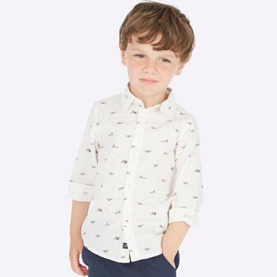 Детска риза за момче в бяло с принт на самолети от Колекция Есен/ Зима 2019/ 2020 на MAYORAL