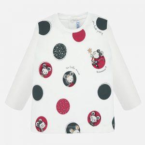 Бебешка блуза за момиче в бяло и щампи на мишлета от Колекция Есен/Зима 2019/ 2020 на MAYORAL