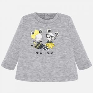Бебешка блуза за момиче в сиво с щампа на мишлета от Колекция Есен- Зима 2019/ 2020 на MAYORAL.