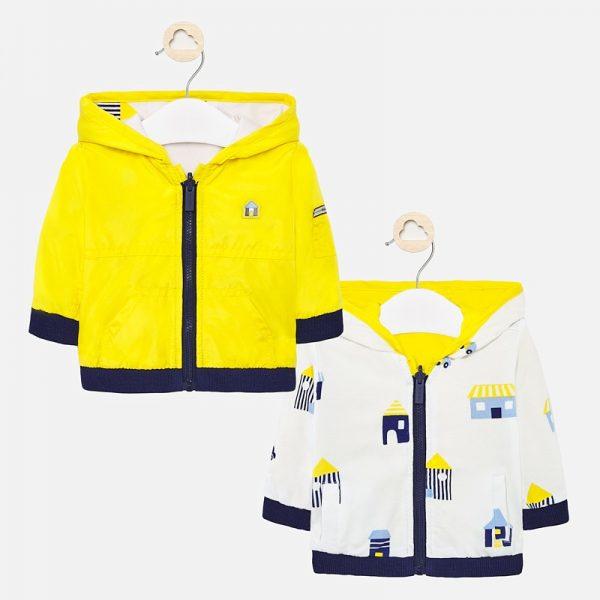 Бебешко двулицево яке за новородено момче в жълто с качулка от Колекция Пролет- Лято 2020 на MAYORAL