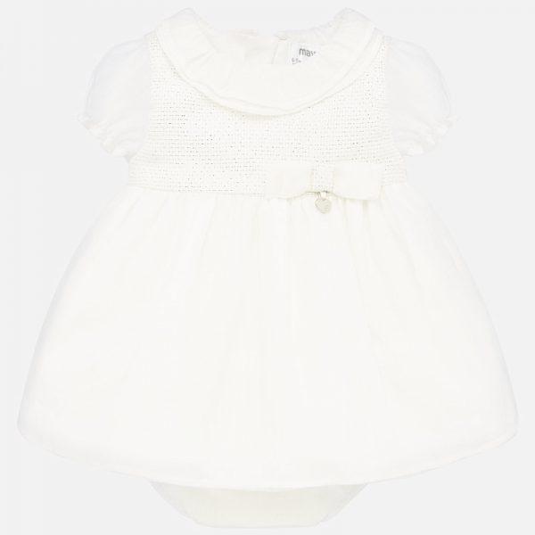 Официална бебешка рокля за новородено бебе в бяло с гащички от Колекция Пролет- Лято`2020 на MAYORAL