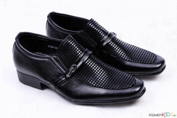 Юношески официални обувки за момче без връзки в черно
