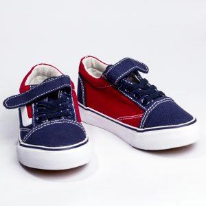 Детски спортни обувки за момче с коригираща велкро- лепка в тъмносиньо с червено и анатомично ходило