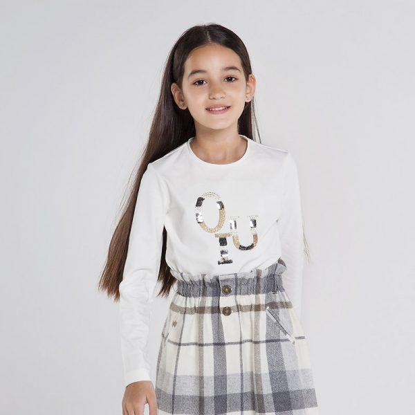 Детска блуза с дълъг ръкав за момиче и ефектна златисто- сребриста апликация от Колекция Есен- Зима 20/21 на MAYORAL