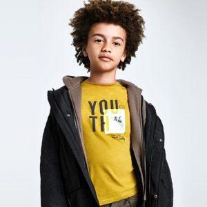 Детска блуза с дълъг ръкав за момче с надпис и принт в горчица от Колекция Есен- Зима 20/21 на MAYORAL