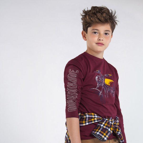 Детска блуза за момче в бордо и цветен принт с мотор от Колекция Есен- Зима 20/21 на MAYORAL
