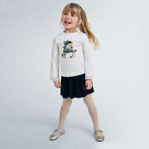 Детска плисирана пола от кадифе в тъмносиньо от Колекция Есен- Зима 20/21 на MAYORAL