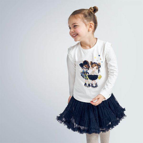 Детска тюлена пола с къдри и блестящ ефект в тъмносиньо от Колекция Есен/Зима 20/21 на MAYORAL