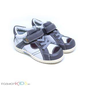 Бебешки обувки в сиво от естествена кожа с анотомично ходило, коригираща велкро лепка и ластични връзки