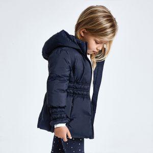 Детско топло зимно яке MAYORAL за момиче с ластик на ръкавите и талията в тъмносиньо