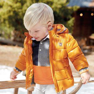 Топло бебешко яке за момче MAYORAL в оранжево със сваляща се качулка