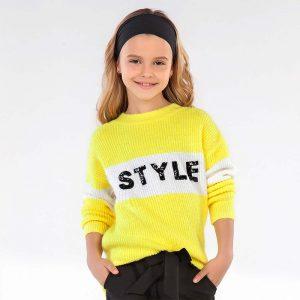 Двуцветен детски пуловер MAYORAL за момиче с дълъг ръкав