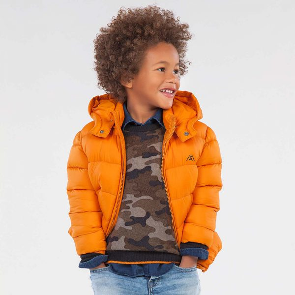 Топло зимно яке за момче MAYORAL в оранжево с подвижна качулка