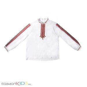 Детска народна риза за момче, богато украсена с ширити