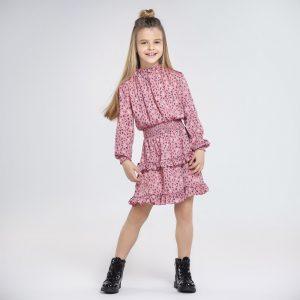 Детска рокля MAYORAL в розово и щампи на букви с ефектни къдри