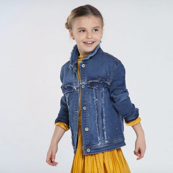 Детско дънково яке MAYORAL за момиче с топъл хастар и ефектна декорация с камъни
