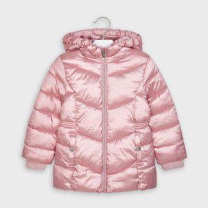 Детско зимно дебело яке за момиче MAYORAL в атрактивен лъскав розов десен