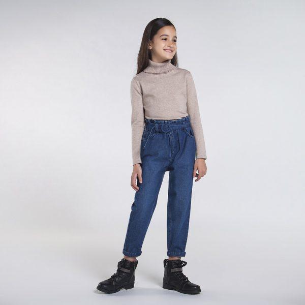Детски широки дънки MAYORAL за момиче с висока талия и колан