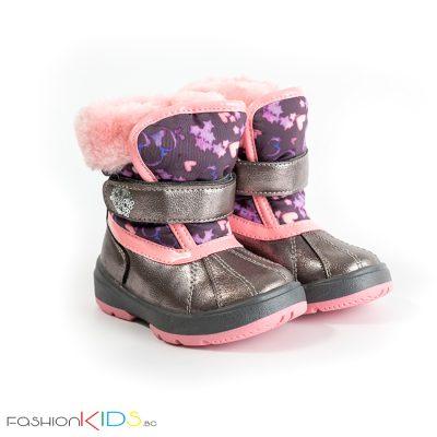 Бебешки апрески за момиче в розово с топъл каракул от водоустойчива материя