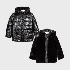 Детско двулицево зимно яке MAYORAL за момиче в черно с дебел пух и качулка.