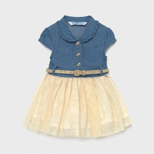 Бебешка дънкова спортно- елегантна рокля MAYORAL със златно коланче и тюл