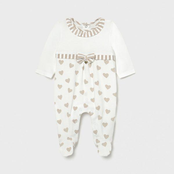Бебешки памучен гащеризон MAYORAL от органичен памук за новородено бебе на сърчица с ефектна панделка.