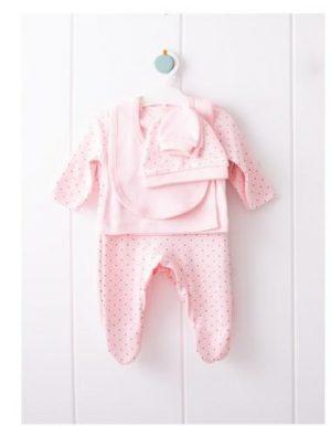 Бебешки комплект за изписване от пет части за момиче в розово.