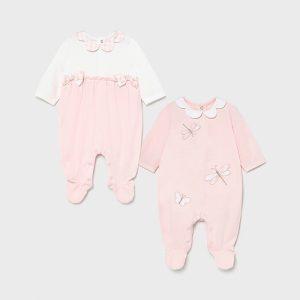 Бебешки памучен гащеризон MAYORAL за момиче в розово с водно конче и ефектни панделки от органичен памук.