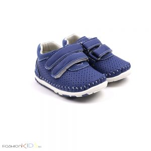 Бебешки обувки за момче за прохождане в синьо с две коригиращи велкро лепки и анатомично ходило
