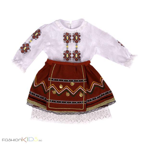 Народна носия за бебе момиче с богато бродирана риза от три части