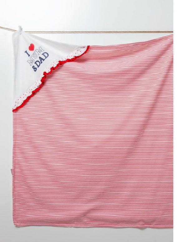 Бебешка пелена I LOVE MUM&DAD с качулка в бяло и червено райе