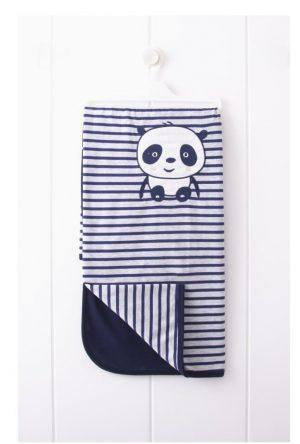Бебешка памучна пелена с панда в тъмносиньо и райета.
