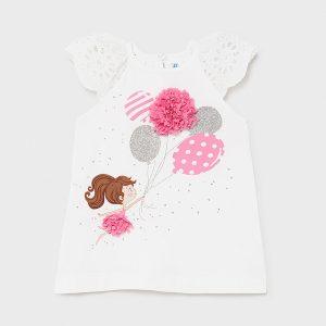 Бебешка трикотажна рокля MAYORAL в бяло с къс ръкав от памучна дантела и ефектен принт с розови балони