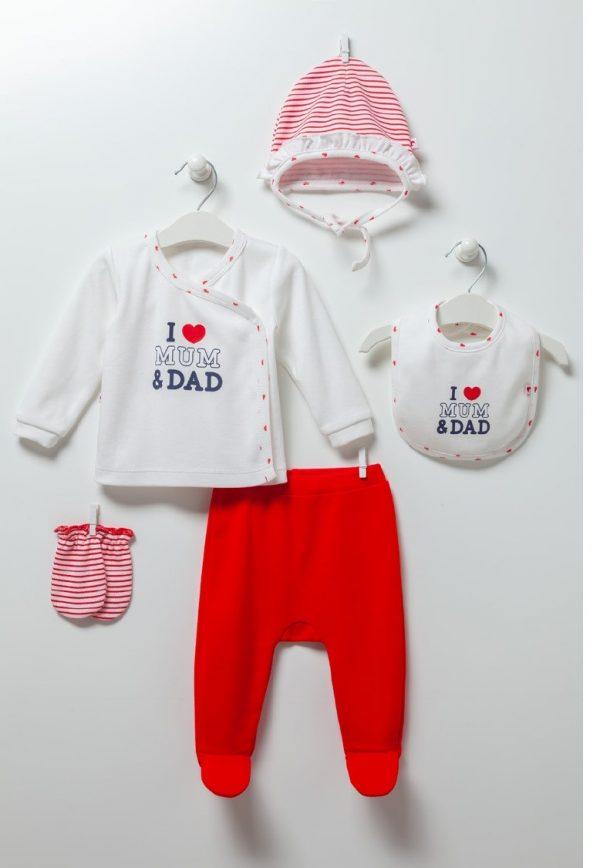 Бебешки комплект за момиче от пет части I LOVE MUM&DADс блузка, ританка, шапка, ръкавички и лигавник в кутия