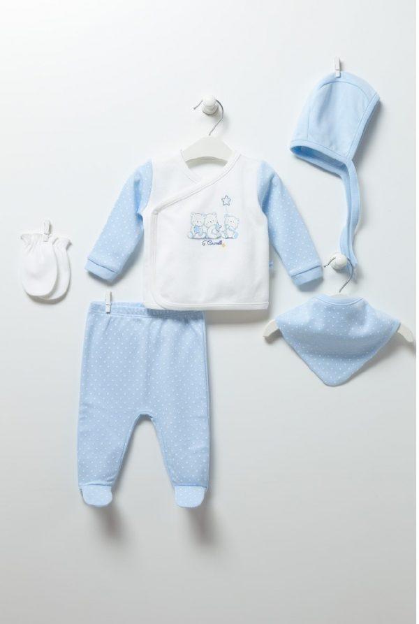 Бебешки комплект за момче от пет частис блузка, ританка, шапка, ръкавички и бандана в кутия