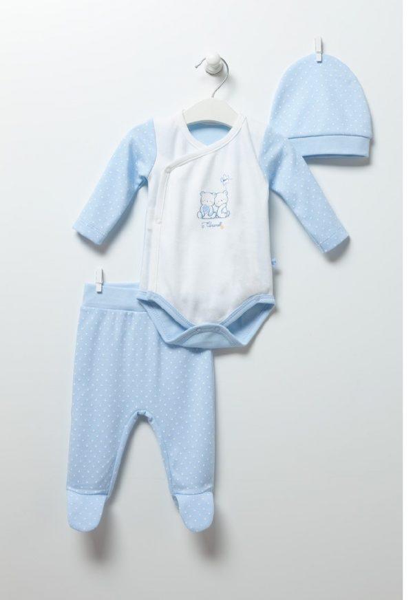 Бебешки комплект за момче от три части с боди, ританка и шапка в кутия.