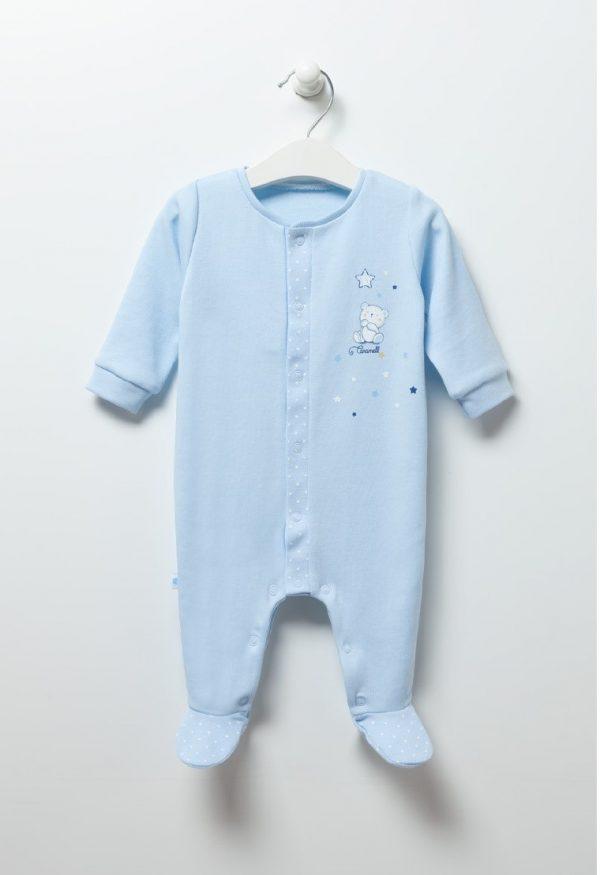 Бебешки гащеризон- ромпър за момче в синьо с нежна бродерия на мече.